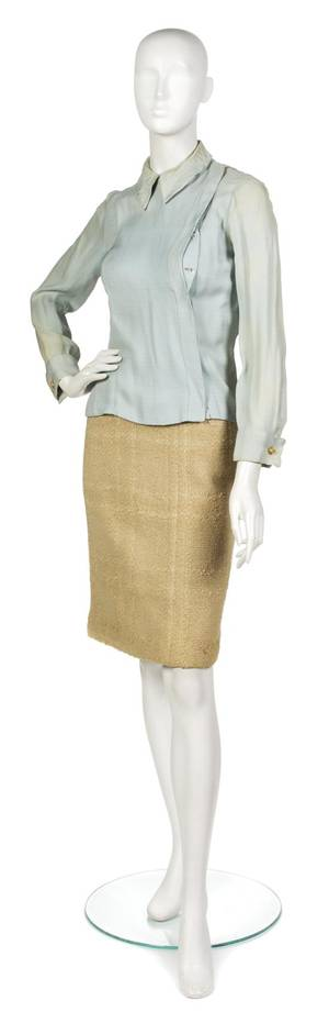 A Chanel Couture Tan Boucle Skirt Suit