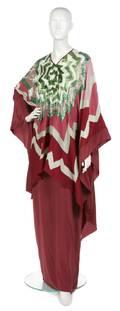 A Michaele Vollbracht Multicolor Silk Beaded Kaftan and Dress