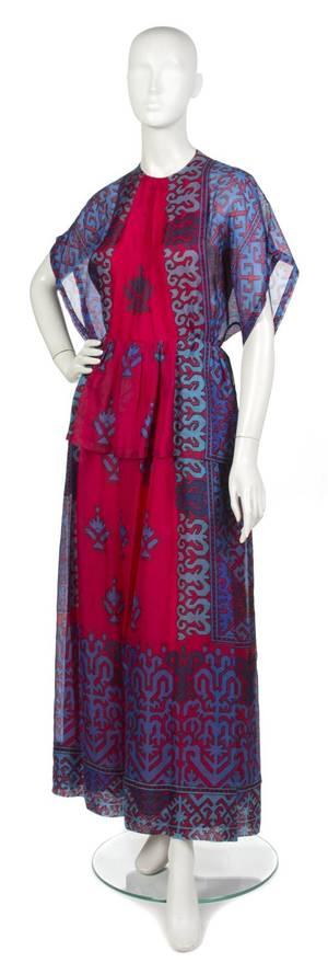 A Lanvin Multicolor Silk Voile Evening Dress