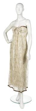 An Oscar de la Renta for Jane Derby Metallic Lace Evening Gown