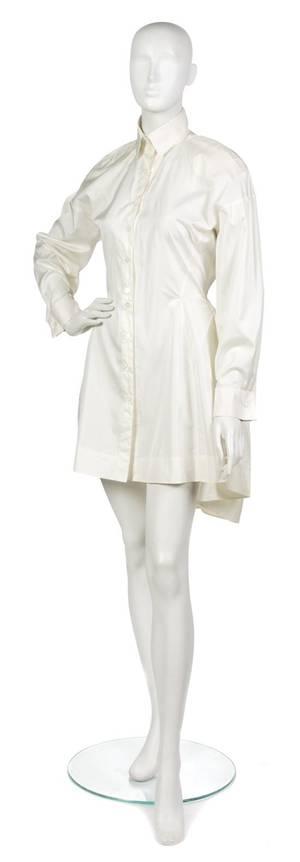 An Alaia White Nylon Shirt Dress