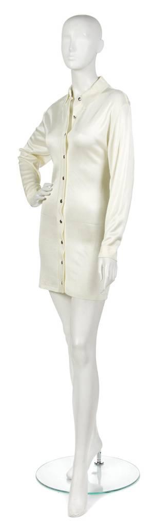 An Alaia Cream Knit Shirt Dress