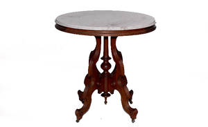 315 19th Century Marble Top Mahogany Side Table