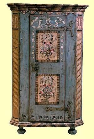 268 Italian Painted Single Door Armoire