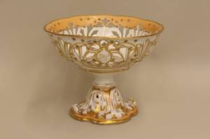 A Footed Openwork Compote in White and Peach