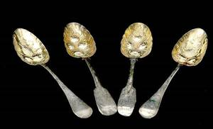 134 4 English Silver Berry Spoons with Gold Wash Bowls