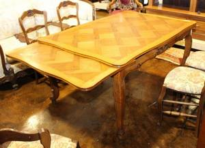 French Oak Parquetry Dining Table