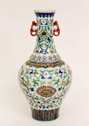 Chinese Polychromed Ducai Porcelain Vase