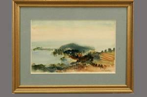 367 Andre Vignoles Landscape Watercolor on Paper