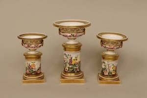 Three Floral Graduated Urns