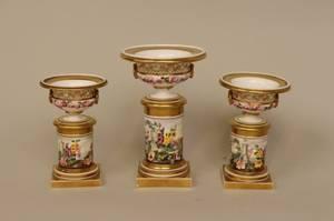 Three Floral Graduated Urns