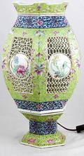 344 Rose Medallion Retic Porcelain Lantern