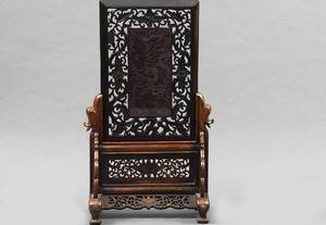 260 Chinese Carved Red Celluloid Dragon Table Screen