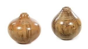 Two Turned Wood Jars
