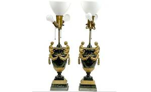 191A Pr French Bronze Marble Figural Lamps