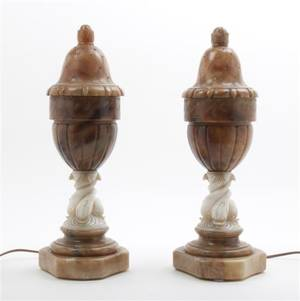 A Pair of Art Deco Classical Alabaster Table Lamps