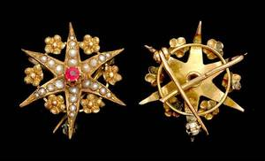 349 Yellow Gold Starburst Pin