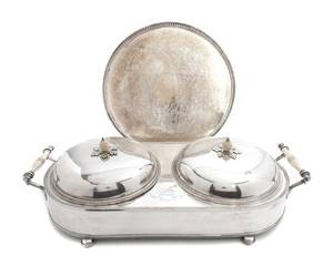 An English Silverplate TwoPart Warming Stand