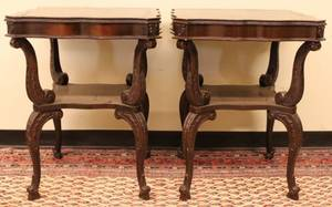 Pair of End Tables w tooled leather tops  shelf stret