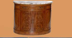 421 Custom Made Marble Top Demi Lune Console