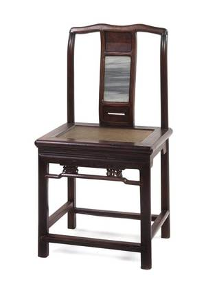 A Chinese Hardwood Yokeback Side Chair
