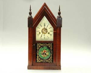 431 American 19th C Mahogany Gothic Empire Clock