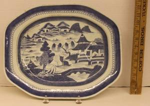 Chinese Blue  White Ironstone Platter