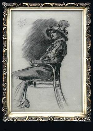393 Attr to Adolph Menzel Charcoal Drawing of Lady