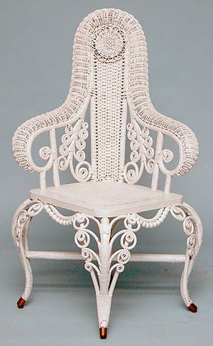 419 American 19th C Wicker Corner Chair