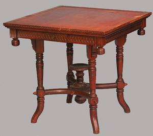 396 Am 19th C Eastlake Mahogany Center Table