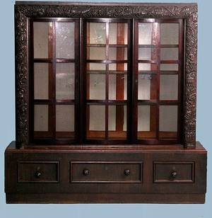 394 Carved Oak Arts and Crafts Bookcase