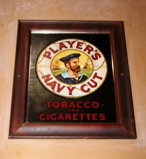 Players Navy Cut Reverse on Glass advertising Mirror