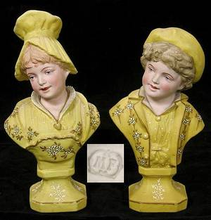 372 Pair of Painted Bisque Porcelain Cabinet Busts