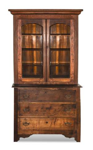 An American Walnut Bookcase on Chest