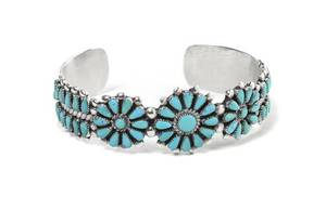 A Zuni Sterling Silver and Turquoise Petit Point Bracelet
