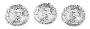 A Set of Three English Silver Art Nouveau Buttons Levi  Salaman