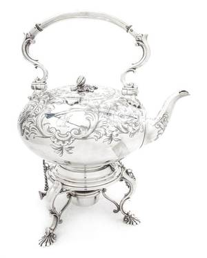 An English Silverplate Hot Water Kettle on Stand Elkington  Co