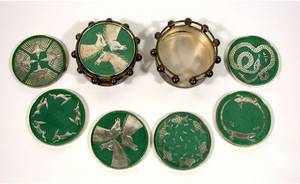 564 Two Sets Emilia Castillo Silver and Ceramic Coaste