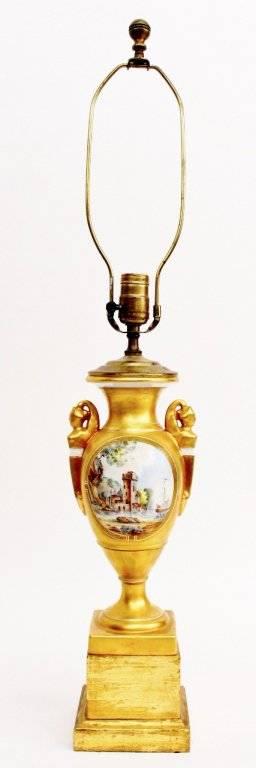 Gilt Scenic Porcelain Vase Lamp