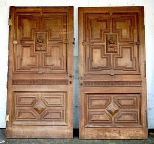 Pair of Massive Carved Oak Doors