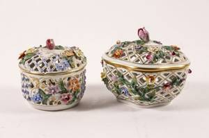 Two Dresden Porcelain Potpourri Covered Boxes