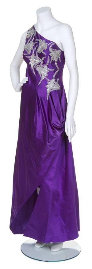 A Stavropoulos Purple Silk and Beaded Evening Gown