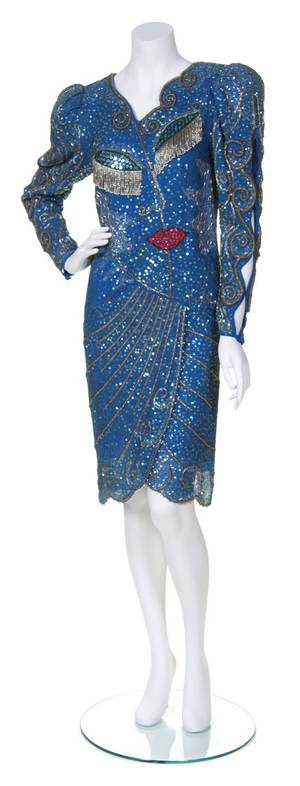 A Zandra Rhodes Blue Silk Beaded Dress