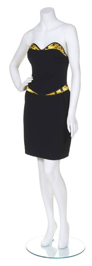 A Geoffrey Beene Yellow and Black Satin Print Cocktail Ensemble