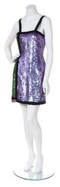 An Oscar de la Renta Studio Multicolor Sequin Colorblock Dress