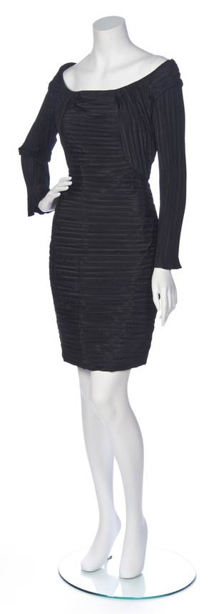 A Bernard Perris Black Pleated Silk Dress