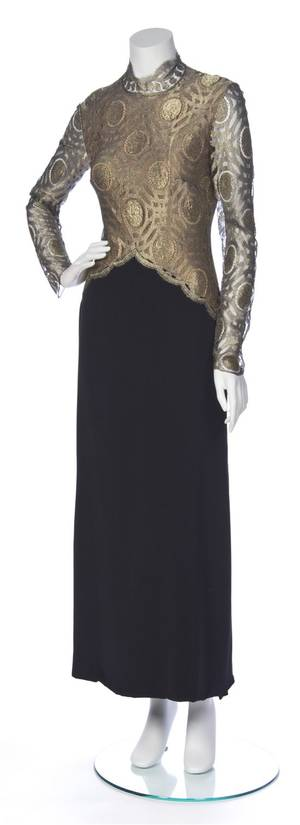 A Jeanne Lanvin Gold Lace and Black Silk Evening Gown