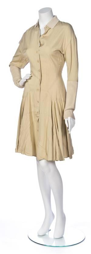 An Alaia Tan Cotton Shirt Dress