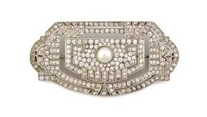 A French Art Deco Pearl and Paste Brooch
