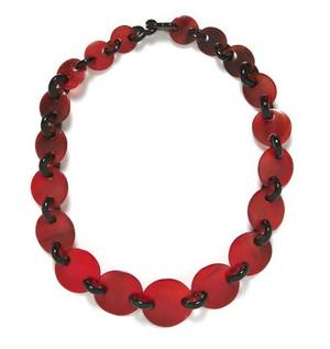 A Gerda Lynggaard Red and Black Resin Necklace